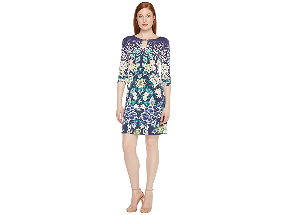 Sangria Printed Shift Dress with Keyhole Neckline (Multi) Women