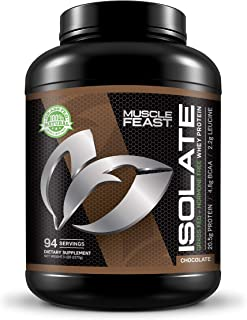 Grass Fed Whey Protein Isolate by Muscle Feast | All Natural and Hormone Free (5lb, Chocolate)