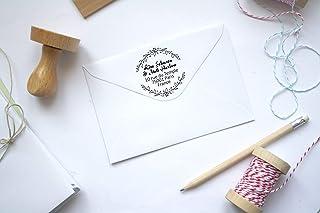 Timbro matrimonio o indirizzo personalizzabile, forma rotonda, floreale, con testo personalizzato