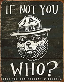 Desperate Enterprises Smokey Bear - If Not You Who? Tin Sign, 12.5