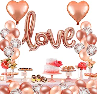 MMTX 42 Pack Foil Helium Love Heart Balloons,Rose Gold Foil Latex Balloons for Valentines Day, Wedding Bridal Shower,Anniversary Engagement and Birthday Party Decoration. (with Ribbon)