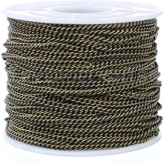CleverDelights Curb Chain Spool - 2.2x3mm Link - Antique Bronze Color - 30 Feet - Bulk Jewelry Roll