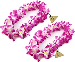 IDS Home Purple Hawaiian Ruffled Simulated Silk Flower Luau Leis Necklace Accessories for Island Beach Theme Party Costumes, 2 Count