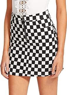 Jollymoda Women's Elegant Mid Waist Above Knee O-Ring Zipper Front Plaid Mini Checkered Skirt