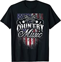 Country Music Guitar & American Flag Design Western Gift T-Shirt