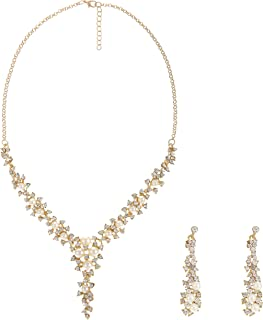 Metme Rhinestone Faux Pearl Necklace Brides Earrings Wedding Jewelry Sets for Women
