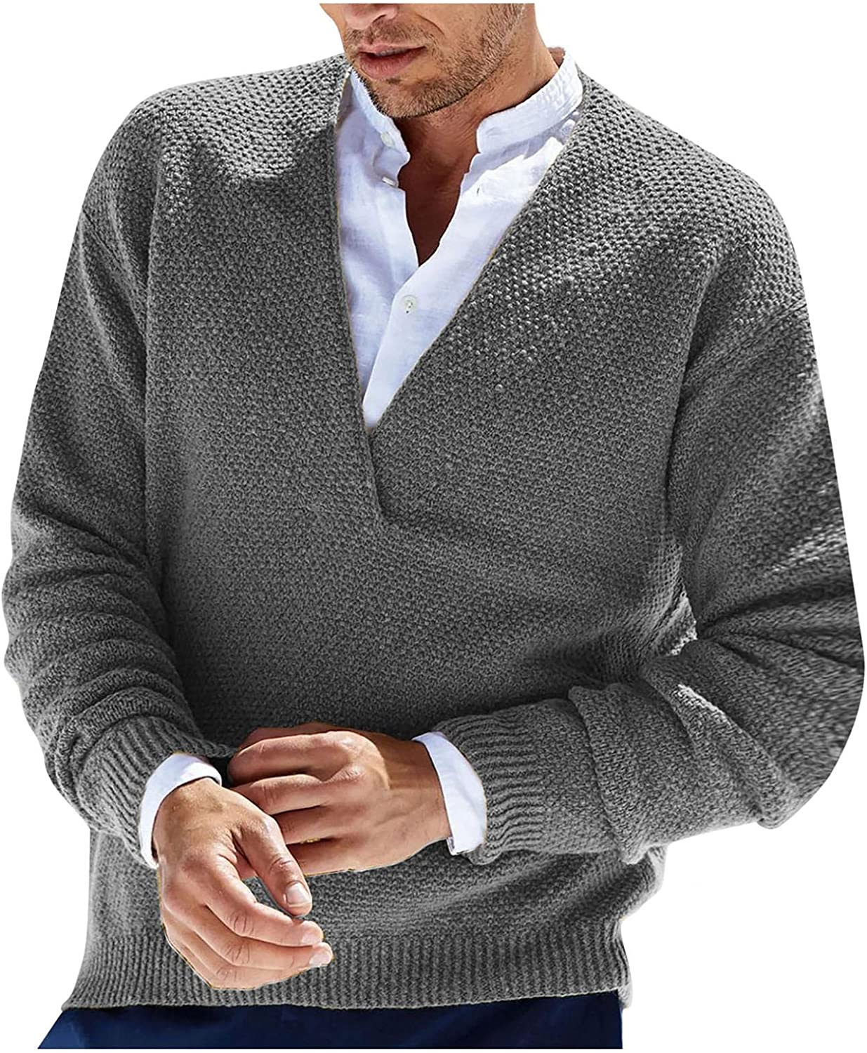 Beshion Men's Knit Cardigan Sweater Casual Slim Fit Long Sleeve Solid Color Lightweight Button Coat for Outwear Work