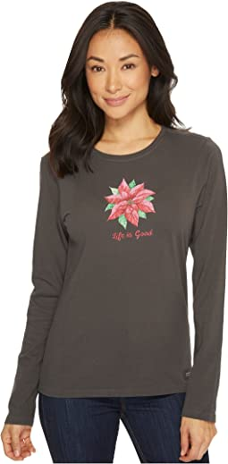 Poinsettia Watercolor Long Sleeve Crusher Tee