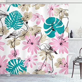 Ambesonne Nautical Decor Collection, Flamingo and Flowers Exotic Garden Birds Animal Blooms Leaves Pattern, Polyester Fabric Bathroom Shower Curtain, 84 Inches Extra Long, Dark Turquoise Pink