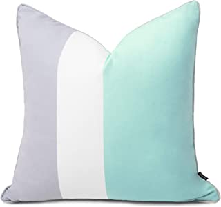 Hofdeco Outdoor Patio Decorative Throw Pillow Cover ONLY Weather Water Resistant Canvas Color Block Aqua Opal Blue Grey Wh...