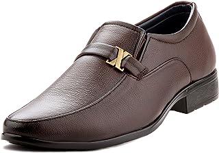 Zebra Men's Slipon 100% Pure Pu Leather Brown Shoes.