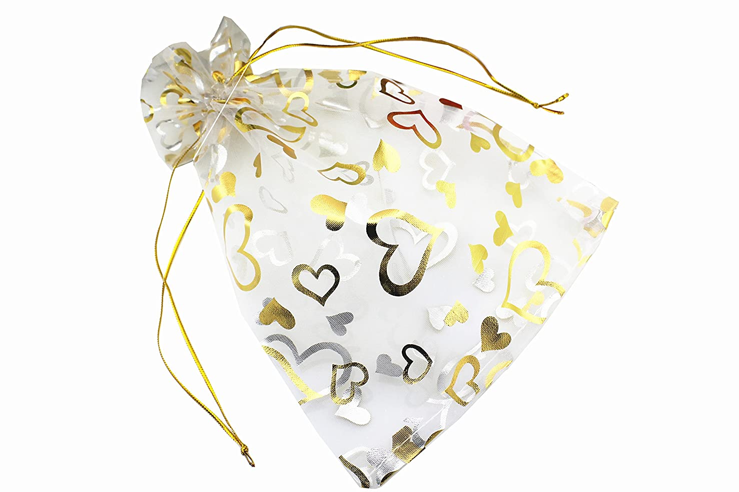 QIANHAILIZZ 100 Pack 7 x 9 Inch Drawstring Flower Heart Bags Organza Jewelry Gift Pouch Candy Pouch Drawstring Wedding Favor Bags (white heart)
