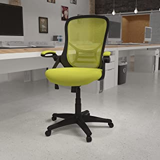 Flash Furniture High Back Green Mesh Ergonomic Swivel Office Chair with Black Frame and Flip-up Arms
