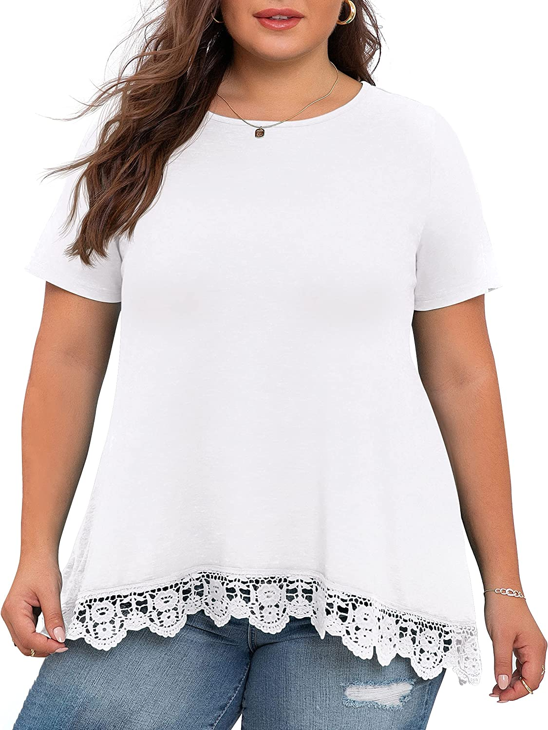 OLRIK Plus Size Tops for Women Summer Casual Womens Short Sleeve/Long Sleeve Lace Shirts and Blouses