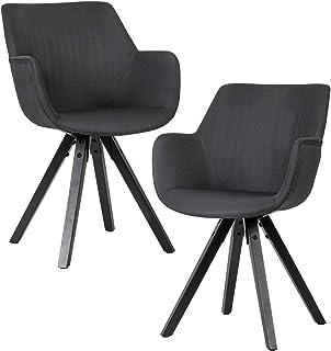 Wohnling Juego de 2 sillas de comedor negras con reposabrazos con patas negras | Silla de cocina moderna con patas negras | Silla de comedor acolchada