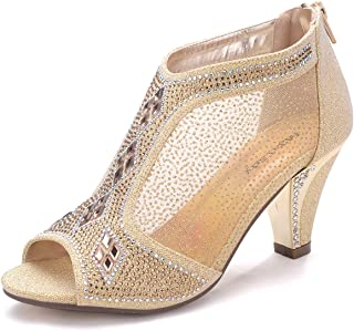 Ashley A Collection Women's Lexie Crystal Dress Heels Low Heels Wedding Shoes A-KIMI-26