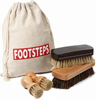 [FOOTSTEPS] 靴磨き ブラシ セット 馬毛ブラシ 豚毛ブラシ ペネトレイトブラシ 2本 セット