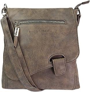 WILD THINGS ONLY !!! Handtasche Schultertasche UMHÄNGETASCHE Used Optik VON Bag Street, RiegelBraun-Taupe - Einheitsgröße