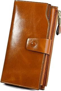 Genuine Leather Wallet Women's RFID Blocking Large Capacity Luxury Wax Clutch Multi..