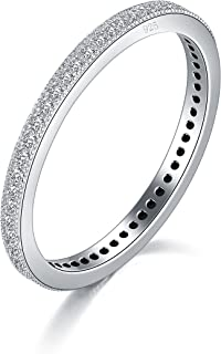 BORUO 2MM 925 Sterling Silver Ring, Cubic Zirconia CZ Wedding Band Stackable Ring Size 4-12