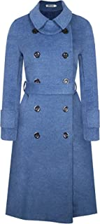 BOJIN Women's Wool Coat Winter Classic Trench Wool Blend Top Pea Coat Double Breasted Long Sleeve with Belt Doll Collar