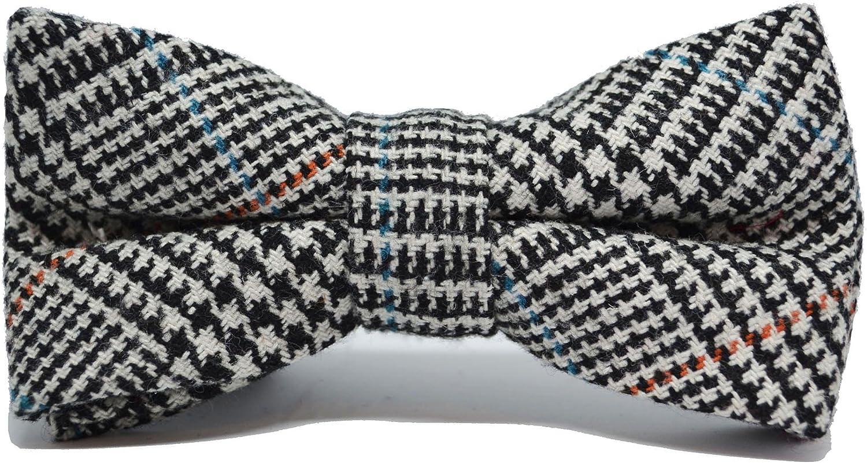 Black & White Dogtooth Check Tweed Necktie, Bow Tie & Pocket Square Set