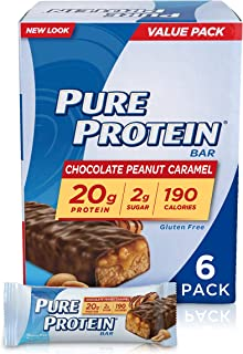 Pure Protein Bars, High Protein, Nutritious Snacks to Support Energy, Low Sugar, Gluten Free, Chocolate Peanut Caramel, 1.76oz, 6 Pack