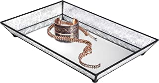 Vanity Tray Mirrored Bottom Vintage Glass Decorative Bathroom Makeup Organizer Jewelry Display Perfume Holder Dresser Home Décor Candle Tray J Devlin Tra 106-1