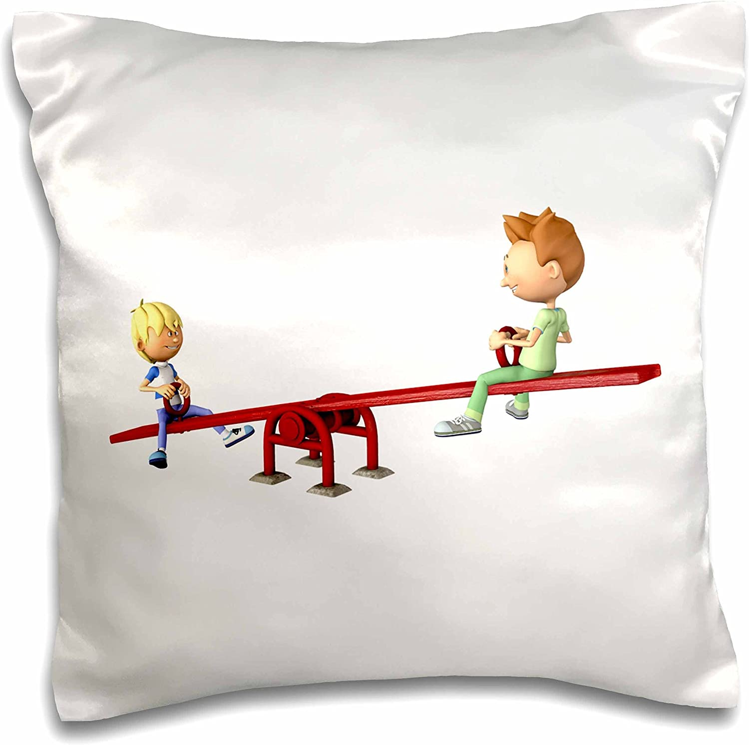 3D Rose Two Cartoon Boys On A See Saw Pillow Cases, 16