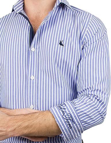 Piel de Toro BÁSICA Rayas Verticales Camisa Casual, Azul ...