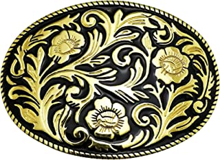 LAXPICOL Western Cowboy Pattern Flower Leaf Belt Buckle For Men Gold Tone Black Enamel