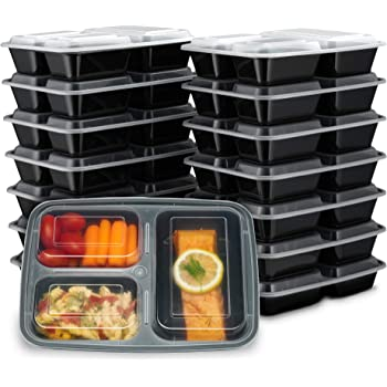 Ez Prepa [15 Pack] 32oz 3 Compartment Meal Prep Containers with Lids -Food Storage Containers BPA Free Plastic, Bento Box, Lunch Containers, Microwavable, Freezer and Dishwasher Safe, Food Containers