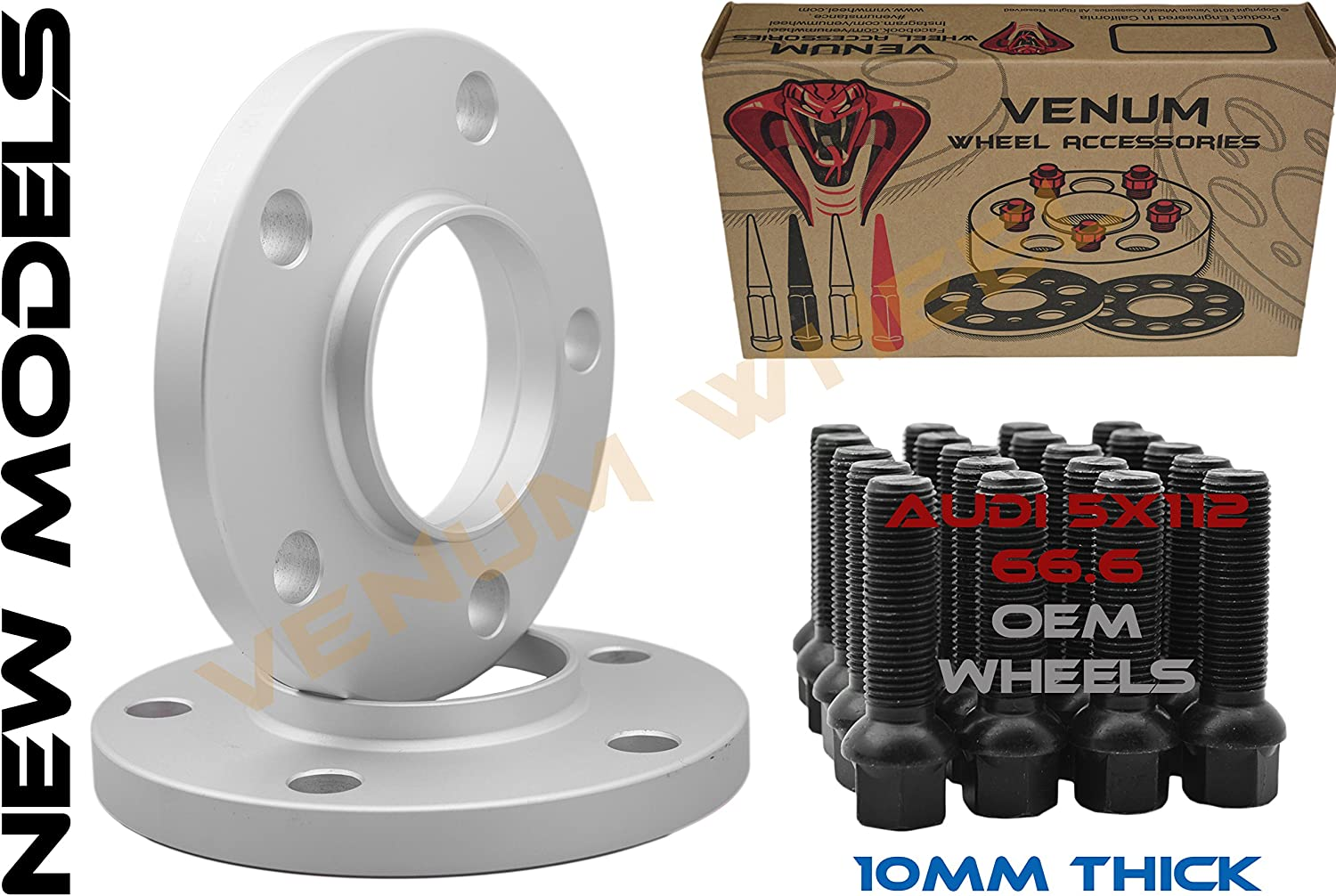 Pair of 10mm Hub Shipping included Boston Mall Centric Wheel Pattern Bla 66.56 5x112 Spacers