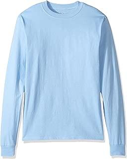Hanes Men's Beefy Long Sleeve Shirt, Light Blue, M