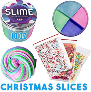 Fluffy Slime 10Oz Magical Unicorn Fluffy Floam Silly Putty Toy,Rainbow 4colors 4Pack Christmas slices Gift for Kids That Create Happy Satisfying Stress Relief Super Soft &Non-sticky Smell Scented
