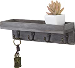 MyGift Vintage Grey Wood Wall Mounted Entryway Shelf with 4 Antique Metal Hooks