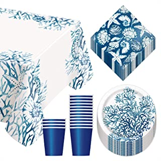 Coastal Ocean Blue Reef Party Pack - Paper Dessert Plates, Napkins, Cups, and Table Cover Set (Serves 14)