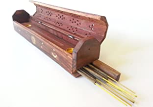Coffin Box Sun, Moon & Stars Incense Burner for Sticks & Cones, Wood, 12