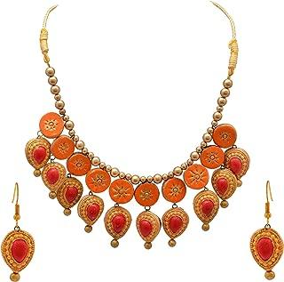 Zephyrr Tibetan Orange Painted Terracotta Jewelry Set Choker Necklace Earrings