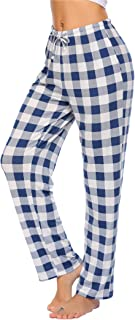 luxilooks Women's Plaid & Solid Pajama Pants Comfy Lounge Pants Causal Pajama Bottoms Long Pj Pants Trousers with Pockets