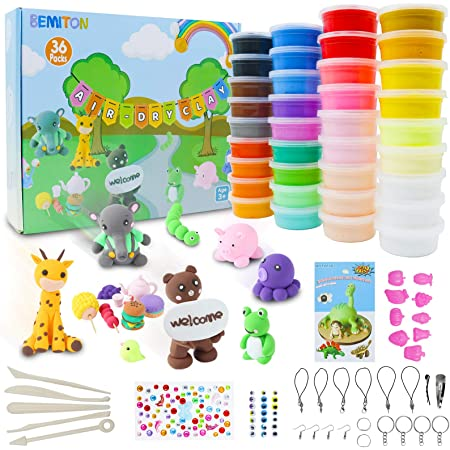 BEMITON Air Dry Clay,Creative Arts and Crafts Kit for 5 6 7 8 9 11 Year Old Kids, 36 Packs Nontoxic Modeling Super Light Magic Clay STEAM Educational Gifts for Girls and Boys