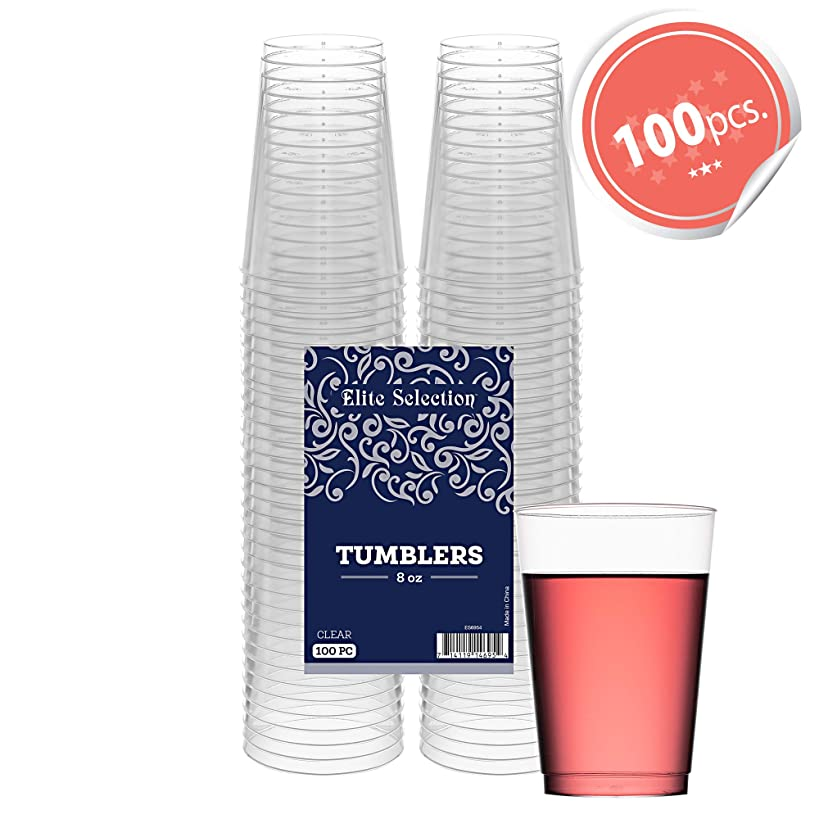 Clear Disposable Plastic Cups 8 Oz. Pack Of (100) Fancy Hard Plastic Cups - Party Accessories - Wedding - Cocktails- Tumblers