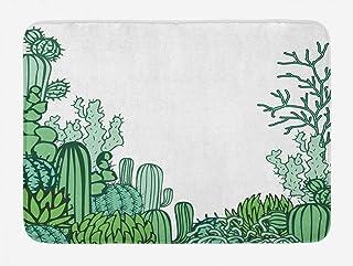Ambesonne Cactus Bath Mat, Arizona Desert Themed Doodle Cactus Staghorn Buckhorn Ocotillo Plants, Plush Bathroom Decor Mat...