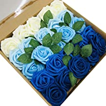 zorpia Roses Artificial Flowers, 25pcs Real Touch Artificial Foam Roses Decoration DIY for Wedding Bridesmaid Bridal Bouquets Centerpieces,Party Decoration, Home Display (SeriesB Blue)