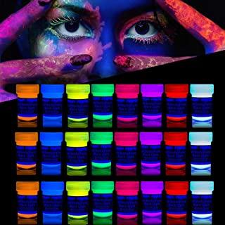 'XXL Set' 24 Cans of Neon Body Paints by neon nights – 16.5 fl oz of Luminescent Body Paints – Long-Lasting Neon Body Paints for Blacklights, UV Lights – Fluorescent Body Paints for Adults
