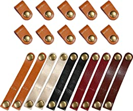 Bememo 20 Pieces Leather Cable Straps Cable Organizer Cord Management Cable Ties for USB Cable Headphone Wire, 2 Sizes (Light Brown Short Straps)