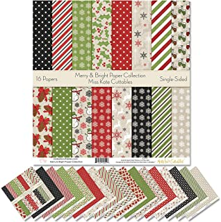 """Sponsored Ad - Pattern Paper Pack - Merry and Bright - Scrapbook Premium Specialty Paper Single-Sided 12""""x12"""" Collection I..."""