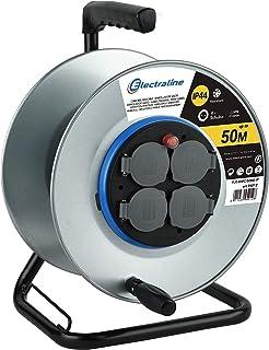 Electraline 94012, Kabeltrommel/Leertrommel Professional onhe Kabel für Metallbau 4 Steckdosen IP44 mit Kabelführung und ergonomischem Griff, geeignet für Arbeitshandschuhe, Metal