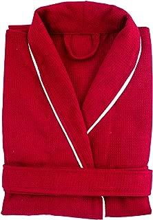 Cozy Bath Waffle Weave Cotton Bathrobe, Medium, Red