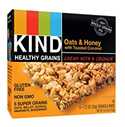 KIND Healthy Grains Bars, Oats and Honey with Toasted Coconut, 5 Count